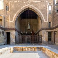 Main courtyard of public historic mosque of Sultan Al Nassir Qalawun, Cairo, Egypt