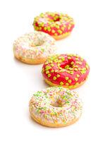 Sweet sprinkled donuts.