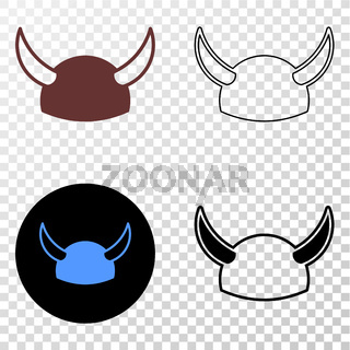 Horned Helmet Vector EPS Icon with Contour Version