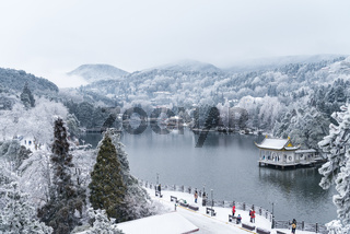 beautiful winter landscape on lushan mountain