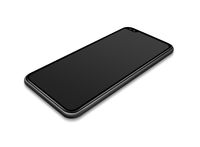 All-screen black smartphone mockup isolated on white. 3D render