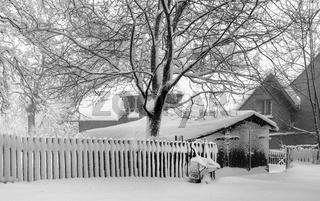 Winter im Vogtland - Die Schubkarre am Zaun