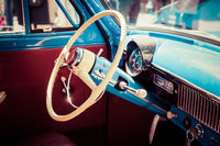 Plastic wheel and interior of an old Soviet car
