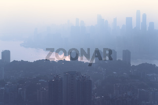 Chongqing city skyline aerial view in the fog