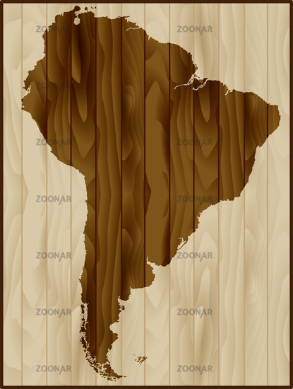 South America map on wood background