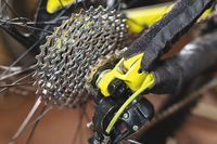 Close-up View of the bike in repair. Gear cassette close-up. Crafting service for mountain bikes. Repair guide for your site