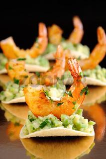 snack of avocado with shrimp