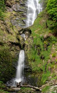 High waterfall of Pistyll Rhaeadr in Wales