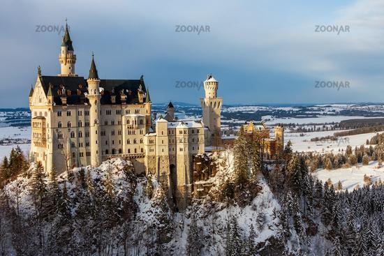 Panoramic view of Neuschwanstein Castle in winter. Germany
