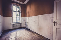 old kitchen room before renovation - run down apartment interior -