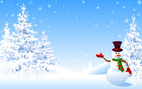 Snowman christmas greeting card winter background