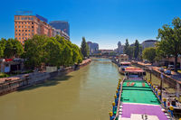 City of Vienna Danube river waterfront view