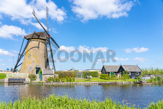 Windmills of Kinderdijk Village in Molenlanden near Rotterdam in Netherlands