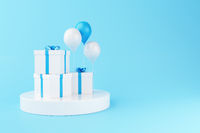 3d Balloons and gift boxes on blue background.