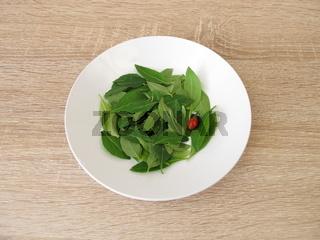 Frische Goji Blätter auf einem Teller