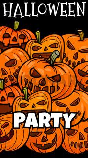 Halloween holiday cartoon poster design with pumpkins