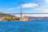 Ortakoy Mosque and the Bosphorus Bridge, beautiful sea view, Istanbul