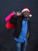 Indian Santa with shopping bags