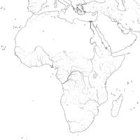World Map of AFRICA: Egypt, Libya, Ethiopia, Arabia, Mauritania, Nigeria, Somalia. Geographic XXL-chart.
