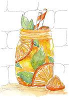Watercolor painting Lemonade