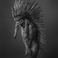 beautiful blonde woman with indian feather plume on her head, is formed by brown feathers