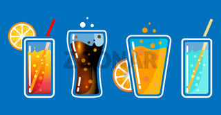 Different colored glasses with soda drinks with bubbles and tubes. Cocktail bar vector illustration.