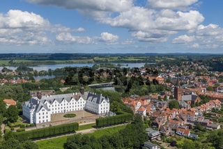 Aerial view of Ploen castle and old town