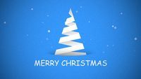 Merry Christmas text, white Christmas tree on blue background