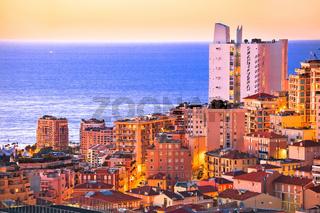 Monaco waterfront skyscrapers golden sunset view