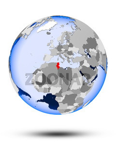 Tunisia on globe