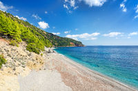The beach Velanio of Skopelos, Greece
