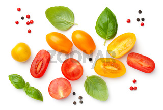 Cherry Tomatoes Composition With Basil And Peppercorns