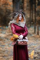 Fortune-teller conducts a ritual autumn