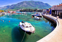 Colorful turquoise harbor in town of Cavtat panoramic view