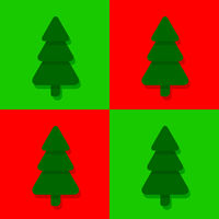 Seamless flat christmas pattern with fir trees on red and green background