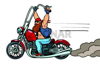 biker on chopper, motorcycle transport