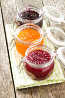 Fruity jam jelly in jar.