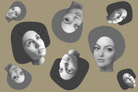 Contemporary art concept collage with fashion girls faces in a zine culture style. Beautiful face young woman.