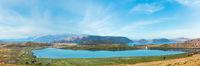 Salt Butrint lake panorama, Albania.