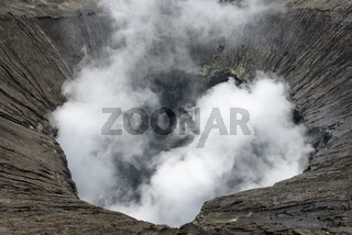 View inside the active volcano crater at Mt. Bromo, Tengger Semeru National Park, Indonesia