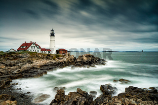 Portland Headlight on the coast of Maine on a stormy and overcast day