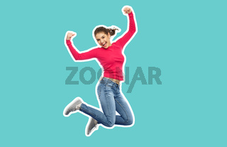 smiling teenage girl jumping in air