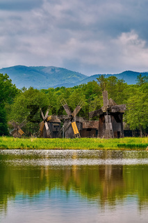 Windmills on the Bank of Lake
