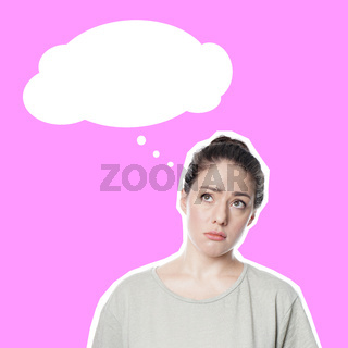 comic style cut out with worried concerned young woman and thought bubble