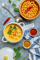Homemade spicy pumpkin soup with chickpeas.