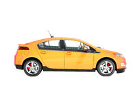 Modern electric car on the left orange 3d rendering on white background no shadow