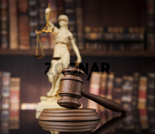 Law and justice concept, Brown wooden background, beautiful reflections