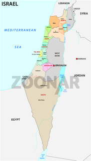 Israel administrative and political vector map