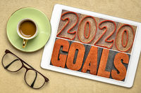 2020 goals banner in wood type