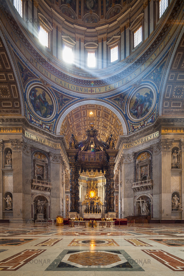 Sun beams inside St. Peter's Basilica